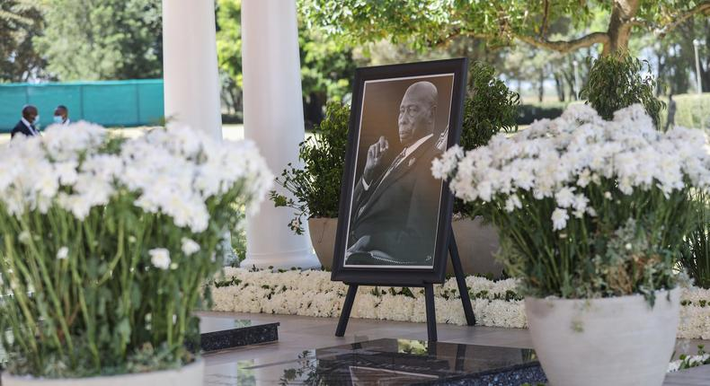 Portrait of the late Mzee Daniel Moi beside his grave, one year after he passed on