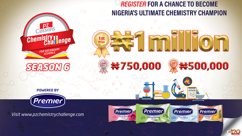 PZ Cussons Chemistry Challenge will be giving out over 3 million naira in cash and gifts to SS2 students in Nigeria