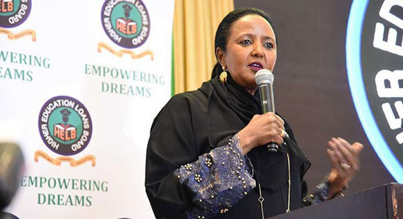Education CS Amina Mohamed speaking durign a past HELB breakfast (Daily Nation)