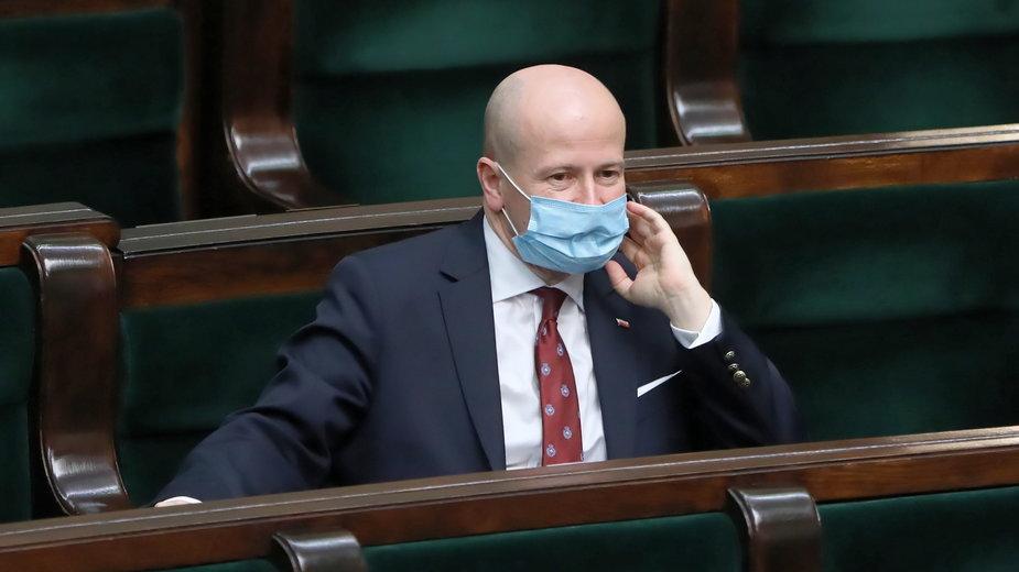 Bartłomiej Wróblewski podczas głosowania w Sejmie na wyborem RPO. Warszawa, 15.04.2021 r.