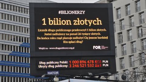 Licznik długu publicznego Fundacji Obywatelskiego Rozwoju, kiedy dług publiczny przekroczył bilion złotych (styczeń 2017)