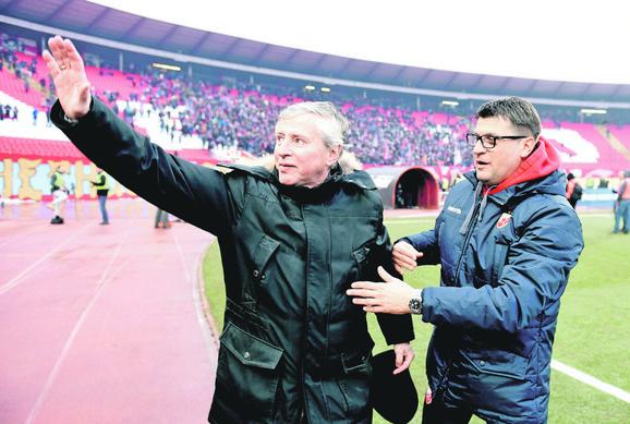 Vladimir Petrović Pižon sa trenerom Zvezde Vladanom Milojevićem