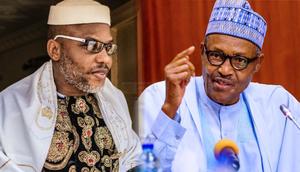 IPOB Leader, Nnamdi Kanu and President Muhammadu Buhari (Peoples Gazette)