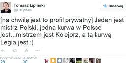 Chamski wpis radnego PO z Poznania: Legia k... jest!