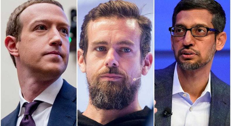Left to right: Facebook CEO Mark Zuckerberg, Twitter CEO Jack Dorsey, and Google CEO Sundar Pichai.