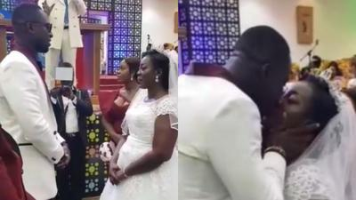 Drone flies Funny Face's ex-wife's wedding ring at her white wedding (VIDEOS)