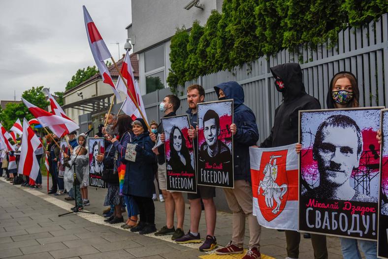 Los polacos apoyan a Bielorrusia, Varsovia, 25 de mayo de 2021.