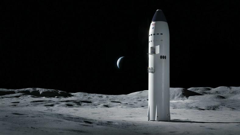 spacex illustration starship spaceship moon lunar surface landing artemis program nasa