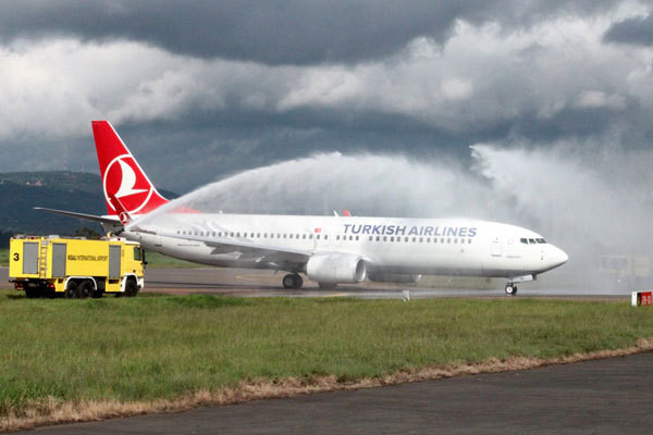 A Turkish Airlines plane lands at JKIA, Nairobi (Nation)