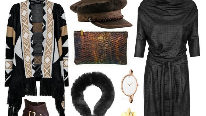 Swetry jako element garderoby są przede wszystkim bardzo praktyczne, jednak nie sposób pominąć ich walorów estetycznych. Obecnie królują modele ciężkie i wzorzyste z połami – w intensywnej kolorystyce i o wyrazistych deseniach. Taka narzutka będzie stanowiła idealne dopełnienie prostej czarnej sukienki, a prócz tego nawiązuje do modnego stylu boho.