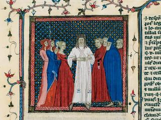 Miniature depicting a couple being married by a clergyman.