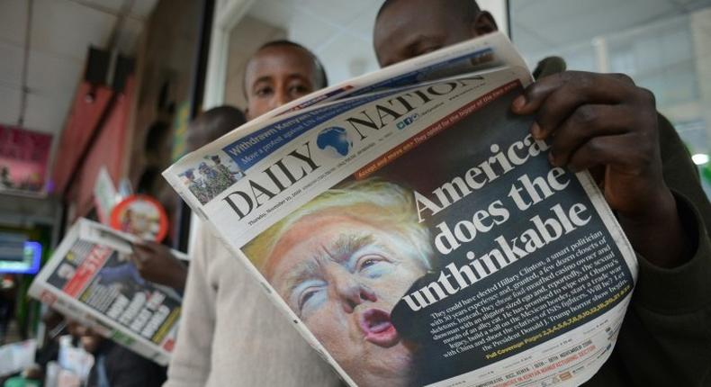 The front page of a Kenyan daily newspaper, Daily Nation.