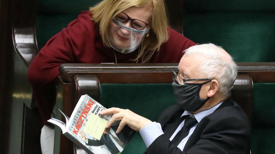 Jarosław Kaczyński i wicemarszałek Sejmu Małgorzata Gosiewska