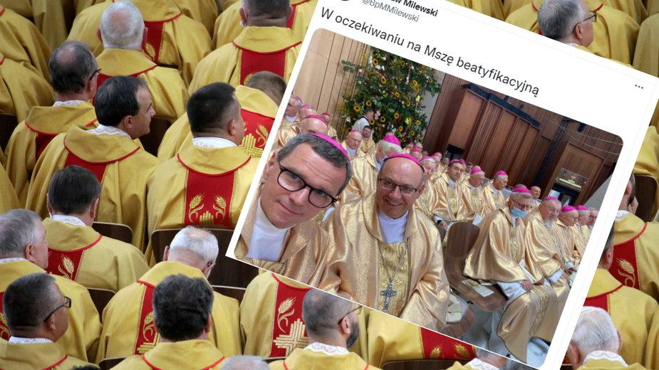 Selfie wykonane przez biskupa oburzyło niektórych użytkowników Twittera