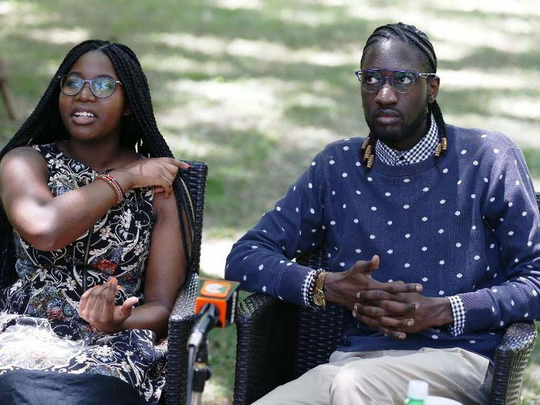 Chichi Michelle (L) with her brother Derek Mboya, children of the late Yvonne Wamalwa (Twitter)