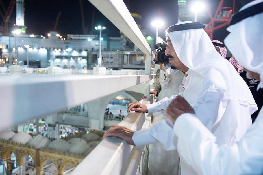 Saudi King Salman visits the Grand Mosque following crane accident
