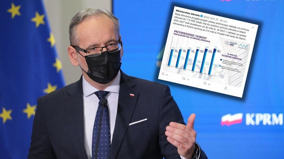 Minister zdrowia Adam Niedzielski podczas konferencji prasowej w Warszawie