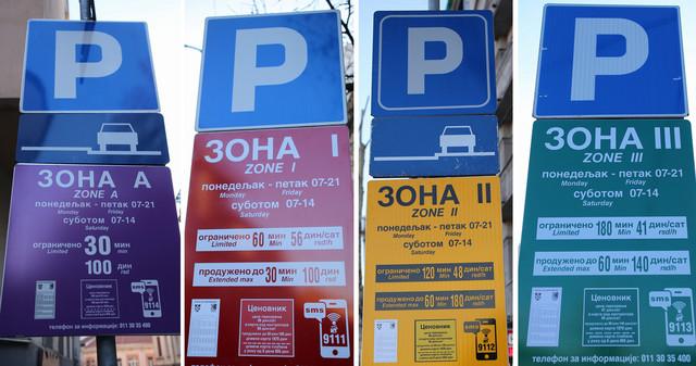 Četiri glavne parking zone