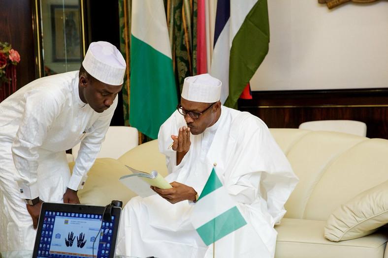 Yusuf Sabiu (Tunde) and President Muhammadu Buhari (Naijaloaded)