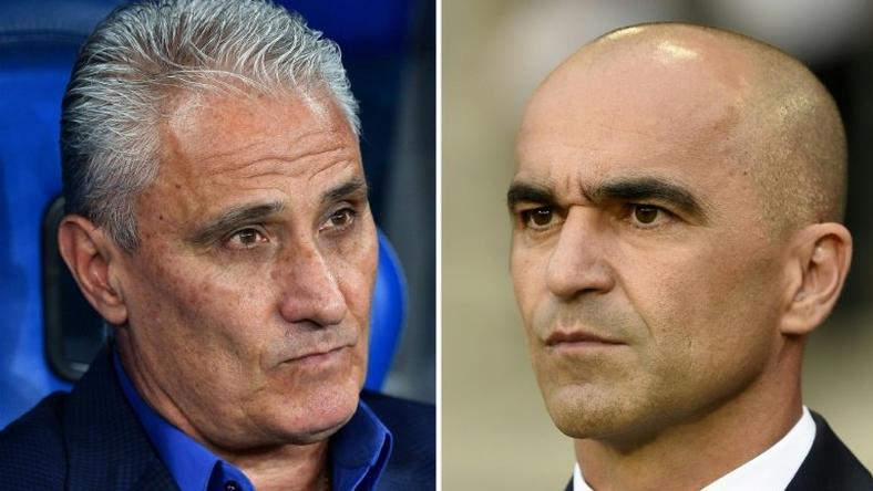 Brazil coach Tite and Belgium's Roberto Martinez