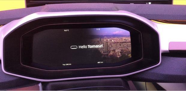 Ekran powitalny jaki zobaczy kierowca po rozpoznaniu aplikacje przez komputer pokładowy Seata