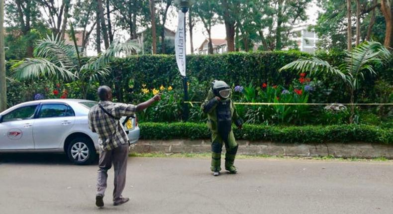 An officer from the Bomb Disposal Unit going to detonate explosives at the DusitD2 complex