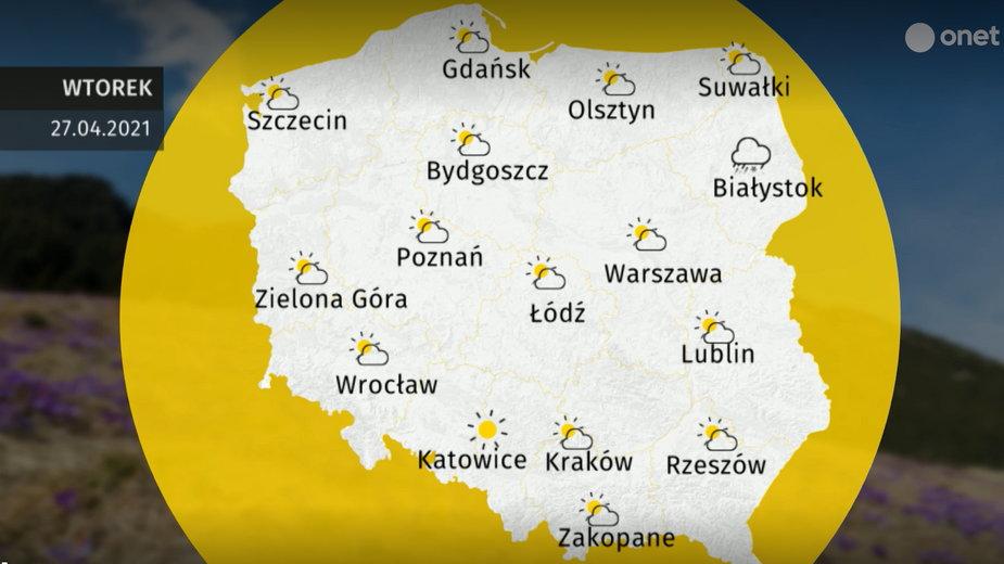 Pogoda na wtorek 27 kwietnia 2021 r.