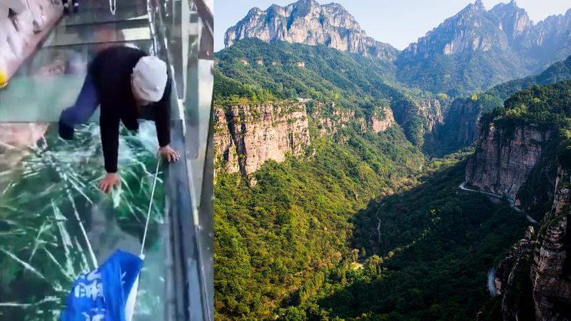 """""""Pękająca"""" szklana kładka w górach Taihang"""