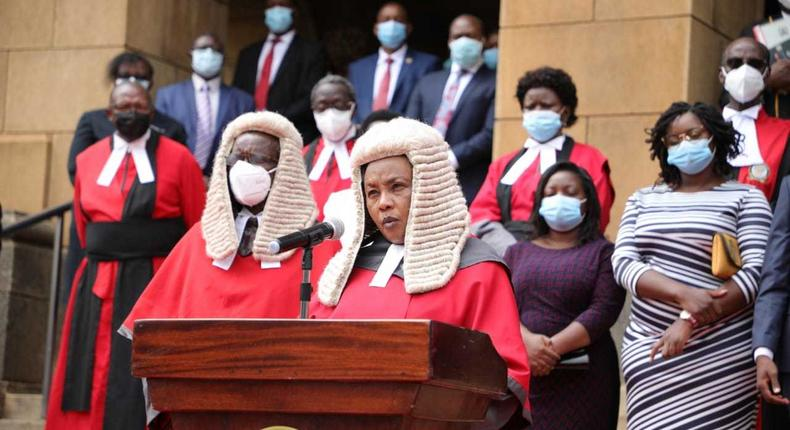 Special court proceedings held as Chief Justice David Maraga retires on January 11, 2021. Justice Philomena Mwilu takes over CJ office on acting capacity