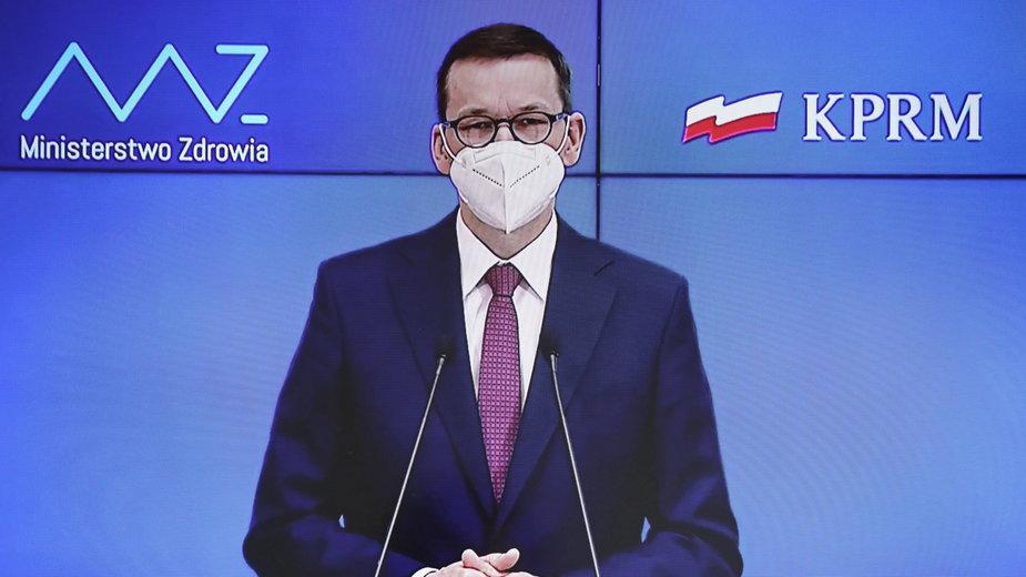 Premier Mateusz Morawiecki podczas konferencji ws. nowych obostrzeń (25.03.2021)