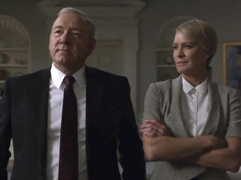 """Kevin Spacey and Robin Wright as Frank and Claire Underwood on """"House of Cards."""""""