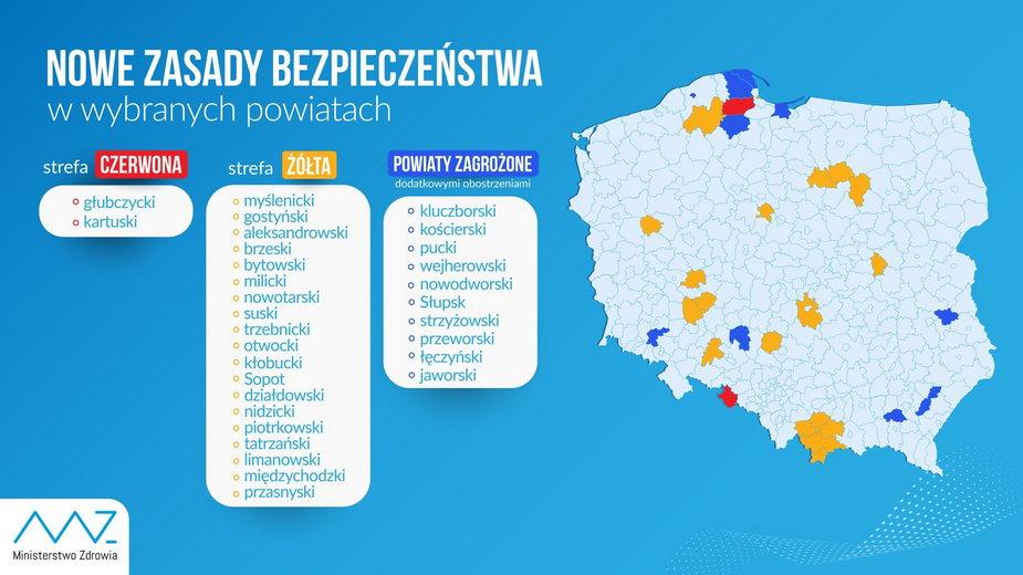 Koronawirus w Polsce. Aktualna lista powiatów z dodatkowymi obostrzeniami z powodu pandemii