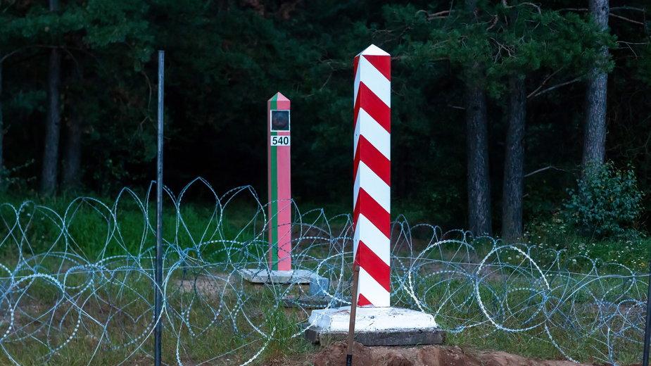 Ogrodzenie na granicy polsko-białoruskiej w okolicy wsi Nomiki