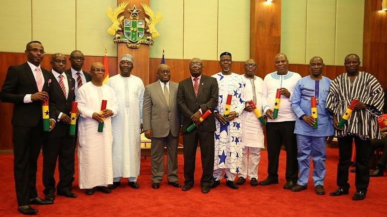 Nana Addo and Dr Mahamudu Bawumia with some ministers