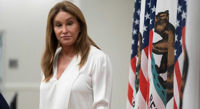 Gubernatorial candidate Caitlyn Jenner looks on during a Town Hall meeting in Pasadena, California, on August 28, 2021.