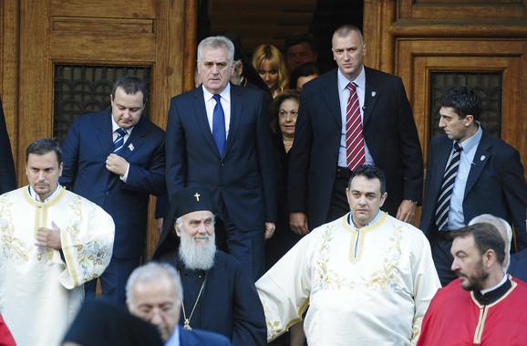 Ivica Dačić i Tomislav Nikolić sa patrijarhom Irinejom