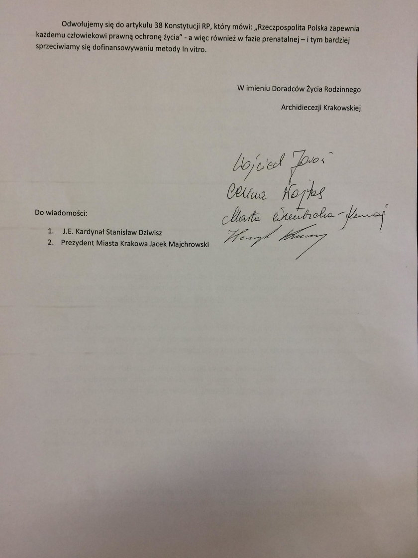 List z archidiecezji krakowskiej
