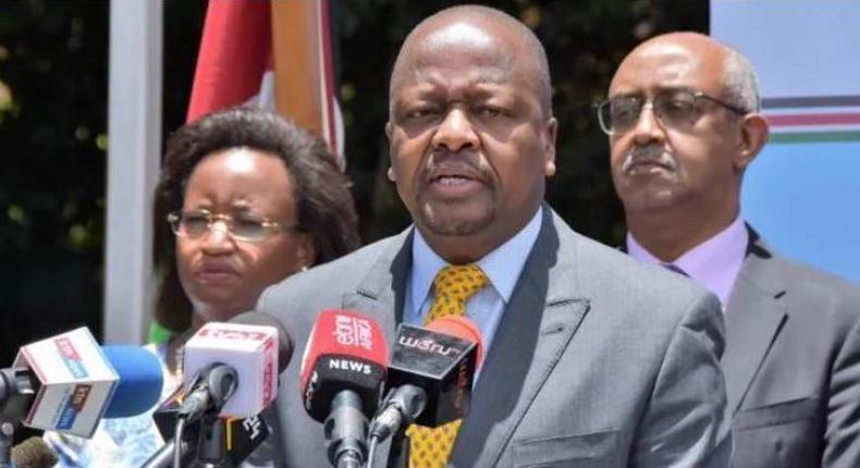 File image of Health CS Mutahi Kagwe at a recent press conference