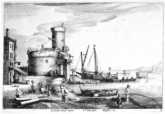"""Jan van de Velde II, """"Tvrđava pored reke"""", 1628. - KLIKNI za uvećanje grafika (+)"""