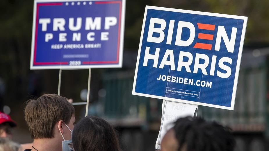 Zwolennicy Donalda Trumpa i Joego Bidena w Atlancie w stanie Georgia