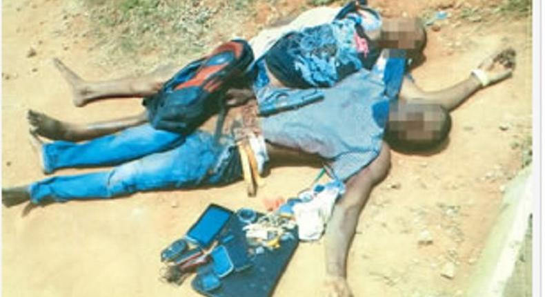 The dead robbery suspects