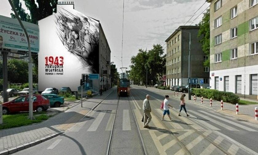 Mural na Woli z zbrodni Wołyńskiej