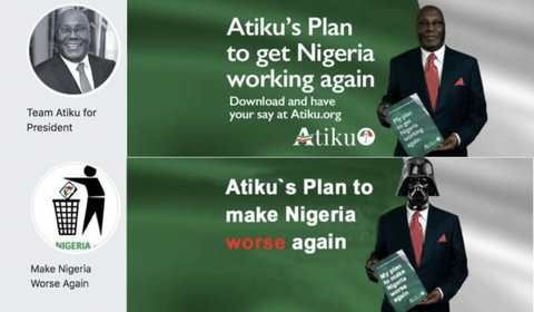 "The ""Make Nigeria Worse Again"" Facebook group depicted Atiku Abubakar as Hollywood movie villain, Darth Vader [DFRLab]"