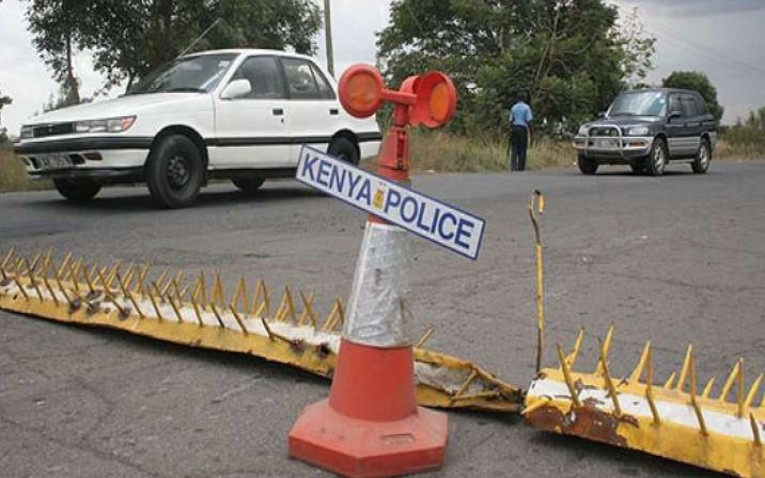 A police road block in Kenya