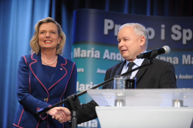 Prezes PiS Jarosław Kaczyński i Anna Maria Anders