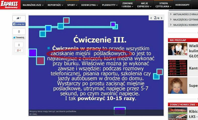 Instrukcja BHP dotycząca zaciskania pośladków (źródło: www.expressilustrowany.pl)