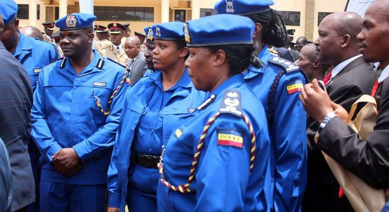 Police officers in the new uniform during the launch of the reforms for National Police Service (NPS)
