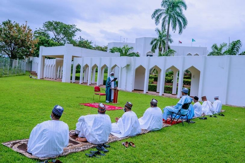 President Muhammadu Buhari observes Eid-el-Fitr at home with family members. (Punch)