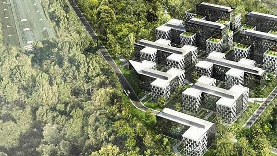 Tak zabudowa obok parkingu P+R Młociny prezentowała się w jednej z wcześniejszych koncepcji, źródło: materiały inwestora