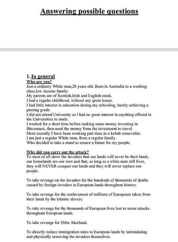 Manifest koji je objavio Brenton Tarant